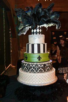 Damask wedding cake.