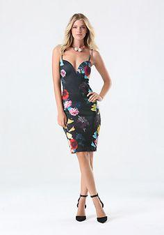 bebe Print Deep V Midi Dress jojo from the bachelor