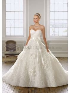 Ball Gown Organza with Floral Design Ribbon Waist Sash with Flower Bodice Sweetheart Neckline Chapel Train Wedding Dresses