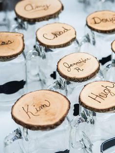 Cocktail glasses and coasters are a practical and versatile wedding favor that can be used at the reception as well as at home. Write your guests name on the top for a personalized keepsake.