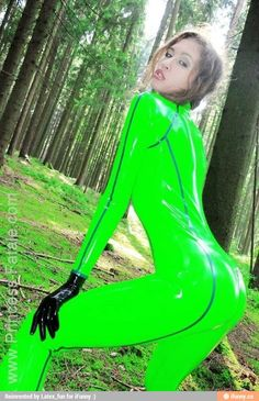 W.F.- Princess-fatale switches outfits to a fantastic neon green latex playsuit, but you can't hide her beauty in the forest for long.