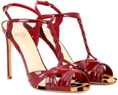 Francesco Russo Patent Leather Sandals in Red