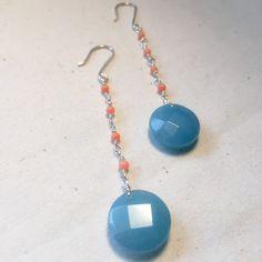 blue agate peach coral earrings wire wrapped earrings fine silver earrings