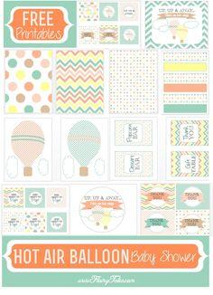 Free printable baby shower party printable - hotair balloon theme. So cute!
