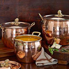 Ruffoni, Copper Artichoke Handled Stock Pots, 3 1/2 Qt. for $200, 4 3/4 Qt. for $350, 7 1/2 Qt. for $400, 12 1/4 Qt. fo $450 via Williams-Sonoma