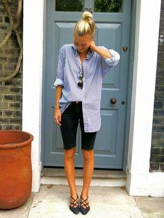 Boyfriend shirt + skinny jean shorts + pointed flats
