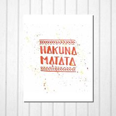 Hakuna Matata Disney Lion King, Lettering Red Orange Modern Typography, Nursery Wall Art Room Decor Kids Bedroom Home Office, Printable Gift by TheDancingFingers on Etsy