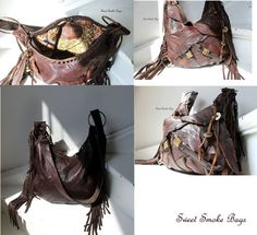 *New leather bag - Fully handmade, artisan Sweet Smoke * Made of natural italian leather in brown color, leather is distressed * Medium size bag * Lightwieght * Lined with 100% cotton in oriental pattern * Interior pocket & outside large, asymmetrical front pocket with 2 decorative straps *Zip top closure * Handmade fringes and bag charm *Dimensions: 11/ 14 <------ONE OF A KIND------> This bag is ready for shipping - I ship worldwide with priority mail
