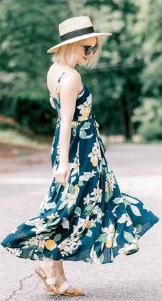 e19ee6be6aa Floral lemon print dress Simple Dresses
