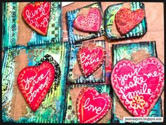 Handmade Valentines by Jessica Sporn using StencilGirl stencils and DecoArt Media.