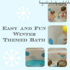winter themed bath: snowflakes and scented like peppermint Water Play Activities, Winter Activities For Kids, Sensory Play, Winter Fun, Winter Theme, Winter Wonder, Diy For Kids, Crafts For Kids, Kids Fun