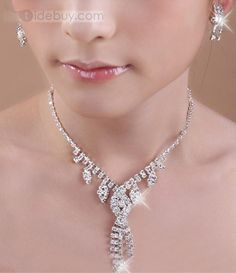 Gorgeous Alloy with Rhinestone Wedding Jewelry Set(Including Necklace and Earrings) : Tidebuy.com