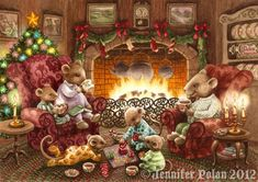 Set of 6 Mouse Family Christmas Cards (with hot cocoa & footy PJ's by the fire) Family Christmas Cards, Christmas Scenes, Christmas Pictures, Christmas Art, Vintage Christmas, Illustration Noel, Christmas Illustration, Lapin Art, Art Fantaisiste