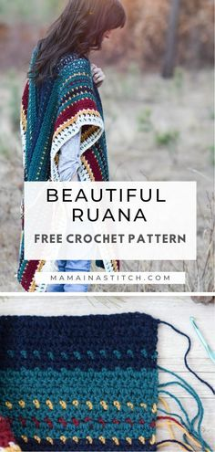 The colors on this serape ruana are stunning! It's made with a simple two rectangle design and an easy stitch pattern. I love how she used the colors! Free crochet pattern available. #crochetpattern #handmade #diy #crafts Crochet Wrap Pattern, Crochet Shawl, Easy Crochet, Free Crochet, Knit Crochet, Crochet Patterns, Crochet Edgings, Crochet Sweaters, Freeform Crochet
