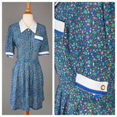 The Waitress 70s Blue Sheer Floral Dress Women's by RIPandROSE