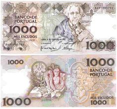 Notas de Portugal e Estrangeiro World Paper Money and Banknotes: Portugal Money For Nothing, Money Notes, Old Money, Coin Collecting, Portuguese, Nostalgia, Coins, Money Matters, History