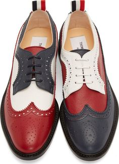 Thom Browne: Red, White, & Navy Leather Longwing Brogues | SSENSE