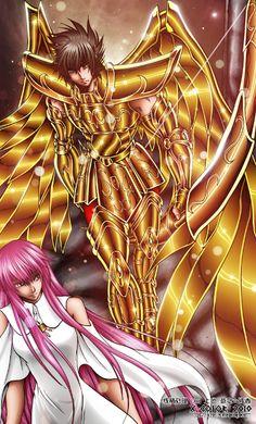Saint Seiya - The Lost Canvas - Sasha/Athena & Sagittarius Sisyphe
