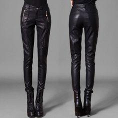2017 High quality Pu trousers women pants boot cut casual women's legging skinny pencil PU leather pant