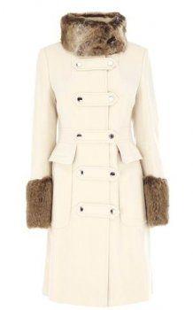 Karen Millen Moleskin Coat With Faux Fur Cream