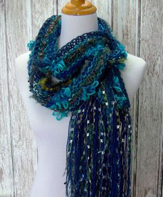 Hand Knit Scarf Turquoise Navy Blue and Silver Extra by Fanchi