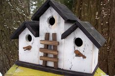 Primitive Birdhouse Country Triplex Three Compartment White Black Ladder Rusty House Accents (OMG There are so many nice birdhouses here...)