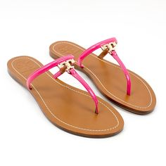 Tory Burch T Logo Patent Flat Thong Sandals Pink Bloom >>> You can get more details by clicking on the image. #shoes