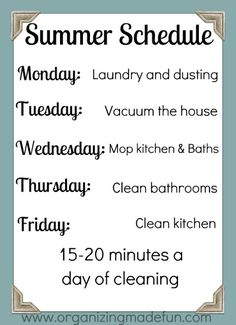 Summer cleaning schedule so the house doesn't get any further away from me! Summer cleaning schedule so the house doesn't get any further away from me! Diy Cleaning Products, Cleaning Solutions, Cleaning Hacks, Cleaning Schedules, Speed Cleaning, Cleaning Recipes, Cleaning Supplies, Just In Case, Just For You