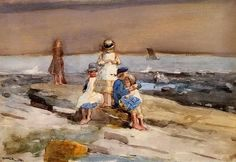 Children on a Beach ~ Winslow Homer ~ (American: 1836-1910)