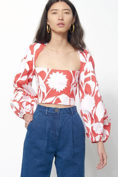Moon fitted crop top in white. Cut out at back with button closure. Zipper closure at back. Bodice lined. Casual Outfits, Fashion Outfits, Womens Fashion, Fashion Fashion, Full Sleeve Crop Top, Full Sleeves, Flannel Fashion, Western Wear, Western Tops