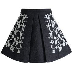 Chicwish Floral Embossed A-line Pleated Mini Skirt