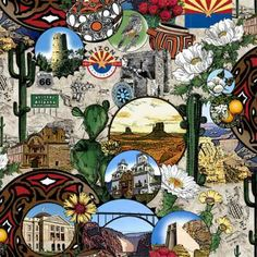 In The Beginning Southwest Beauties by Jason Yenter 1SW1 Collage $7.99 yd