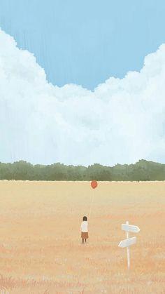 Girl with a balloon illustration Kawaii Wallpaper, Pastel Wallpaper, Of Wallpaper, Cartoon Wallpaper, Wallpaper Backgrounds, Balloon Illustration, Illustration Art, Illustrations, Stock Design