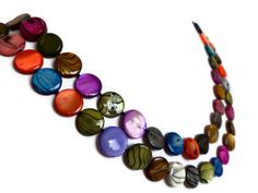 Rainbow Extra Long Shell Pearl Necklace by Lunarpearl on Etsy, $17.00