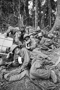22 Nov 1967, Dak To - Hill 875   2 Nov 1967, Near Dak To, South Vietnam –Members of the 173rd Airborne Brigade, many wounded during the bitter siege of Hill 875, huddle together here, wary of sniper fire, as they wait for evacuation helicopters. Reinforced American troops seized most of the strategic Hill 875 and dug in within hand grenade range of North Vietnamese fortress at the top. Fighting in the Central Highlands has been the fiercest in the Vietnam conflict.