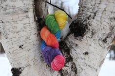 I love this Hand dyed rainbow sock yarn by Arctickrafts on Etsy