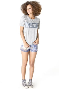 Get this look here! Top: http://www.shophappiness.com/t-shirt-donna-glitter-iconic.html Shorts: http://www.shophappiness.com/pantaloncini-west-leo-pizzo.html