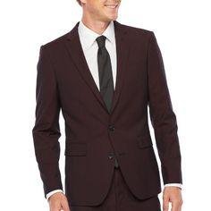 Ferrar-Big and Tall 360 Stretch Burgundy Pulse Classic Fit Stretch Suit Jacket, Color: Burgundy - JCPenney Fitted Suit, Spandex Fabric, Slim Fit, Stretch Fabric, Sleeve Styles, Stretches, Burgundy, Suit Jacket, Suits