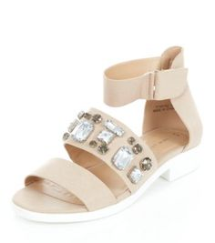 Stone Chunky Gem Strap Ankle Cuff Sandals