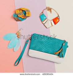 Be stylish. Fashionable Lady's Accessories. Necklaces, Bracelets, Earrings, Clutch. Detail Fashion