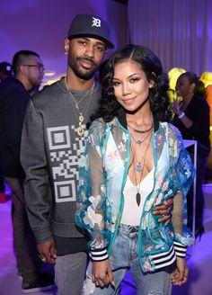 Big Sean and Jhene Aiko attend adidas Originals Pink Beach Pharrell Williams party on May 13, 2016 in West Hollywood, California.