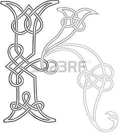 Un nodo celtico-lavoro Lettera K Capital sagoma stilizzata photo