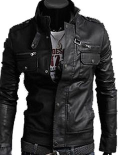 Men's Punk Bomber Biker Motorcycle Slim Fit Faux PU Leather Jacket Blazer