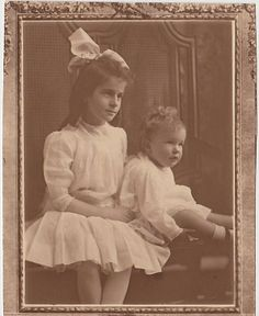1912 Sepia Framed Photograph of Vincent Price and His Older Sister Lollie.