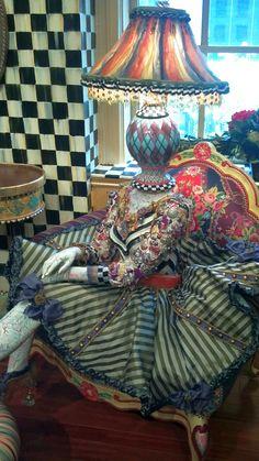 MacKenzie-Childs Store display, Feb. 2012, mannequin with lamp head #MacKenzieChilds #retail