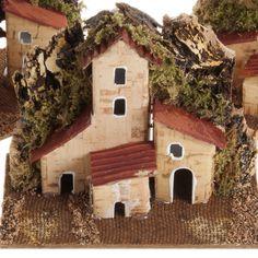 Casa presepe legno su base