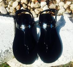 7eaf828f4b96 kid shoes Michael Kors Plate Jelly Flat Thong Sandals Black silver Size 5  new  MichaelKors