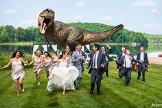 Jeff Goldblum chased by T-Rex at Toronto couple's wedding #weddings #weddingphoto #dinosaur #jurassicpark