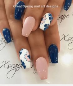 10 Spring Nail Designs that will delight you for spring - Nageldesign - glitter nails summer Cute Spring Nails, Spring Nail Art, Nail Designs Spring, Fall Nails, Summer Nails, Spring Nail Colors, Cute Acrylic Nails, Acrylic Nail Designs, Navy Nail Designs