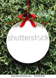 #Stock #photo: #blank #round #ornament #frame #red #Christmas #ribbon #green #butchers #broom #background #shutterstock